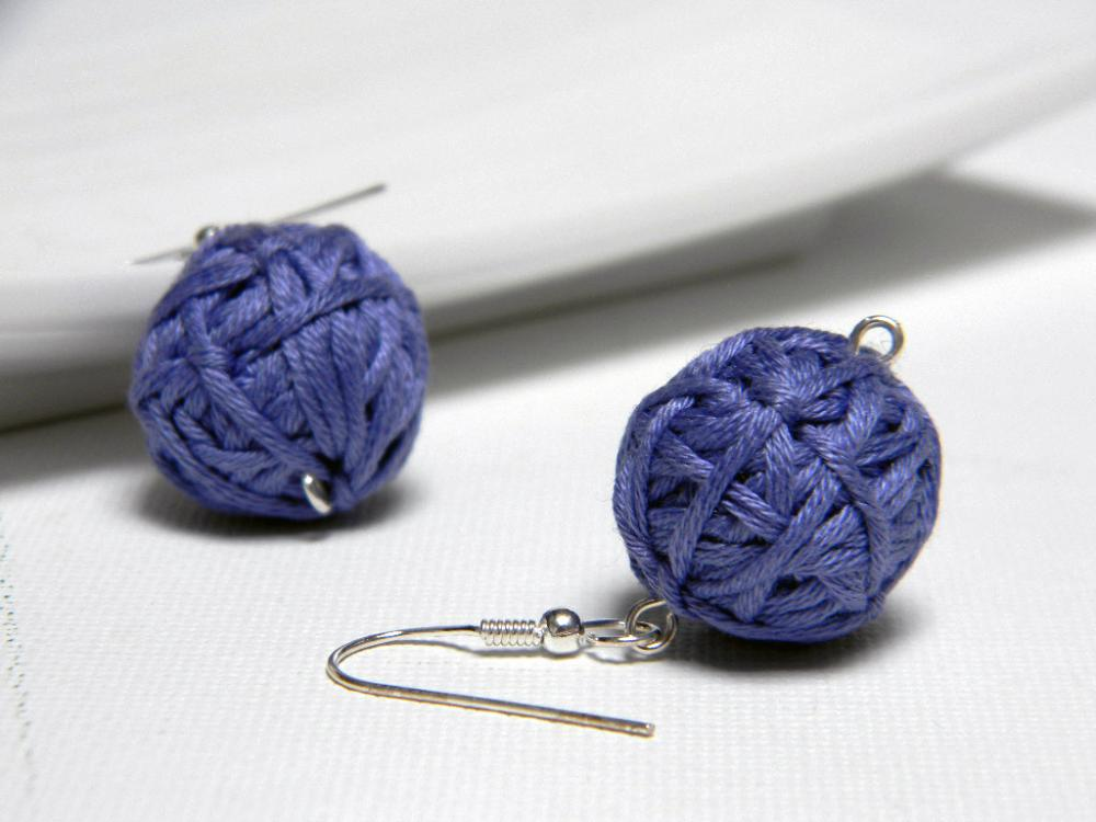 PERIWINKLE cotton yarn beads earrings - Ready to ship