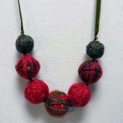 Wool yarn beads necklace - Red, mixed colors and sage green - One of a kind and ready to ship