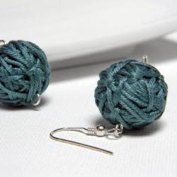Deep water green cotton yarn beads earrings