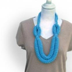 SKY BLUE crocheted wool yarn necklace Aurora